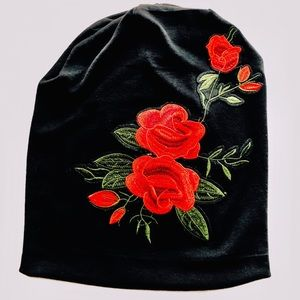 Accessories - Black Knit Hat with roses appliqué
